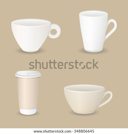 Collection of various coffee cups on brown background, vector illustration