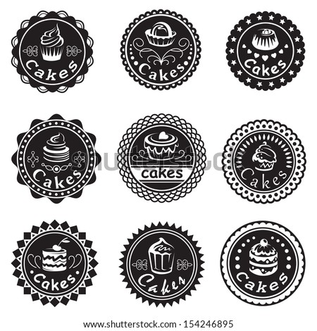 collection of various cupcakes labels - stock vector