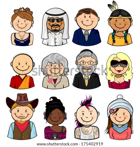 Collection of various different characters multiracial half-length isolated-EPS8 - stock vector