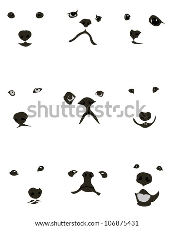 Collection of various dog breeds faces expressions. Easy editable layered vector illustration - stock vector