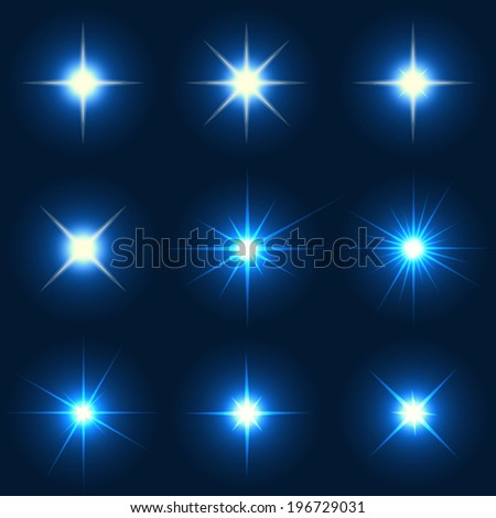 Collection of various forms of sparks. This file contains transparency. - stock vector