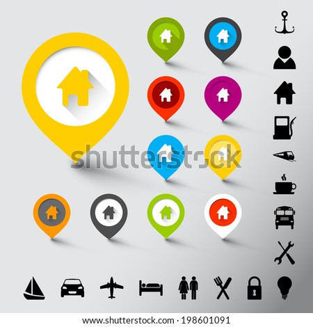 Collection of various fresh color pointers with icons - stock vector