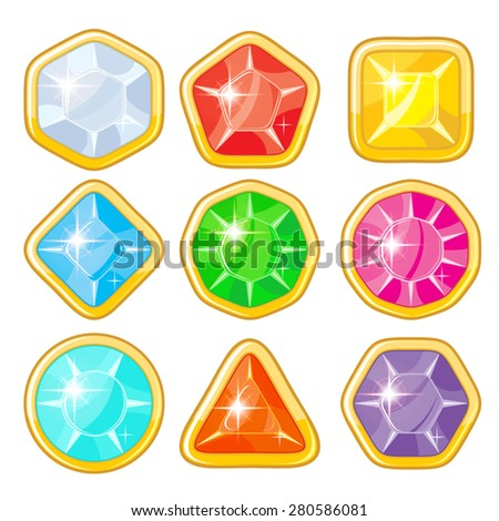 Collection of various gems with golden rim for game design - stock vector