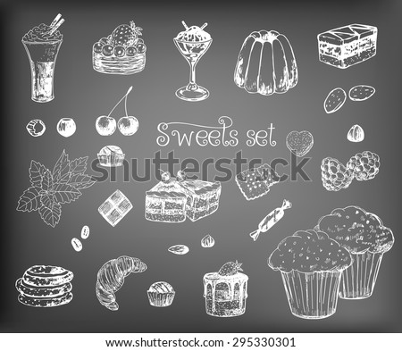 Collection of various hand-drawn desserts and ingredients. Elements for design on chalkboard background. - stock vector