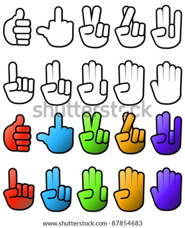 Collection of various hand signs and signals - stock vector