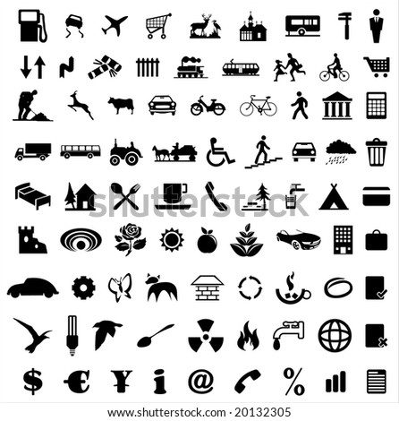 Collection of various icons vector - stock vector
