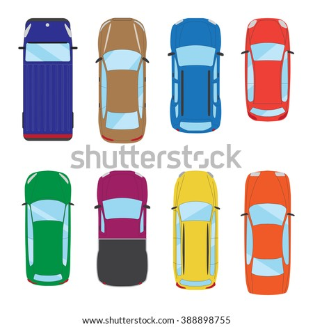 Collection of various isolated cars icons. Car top view illustration. Vector eps 10 - stock vector