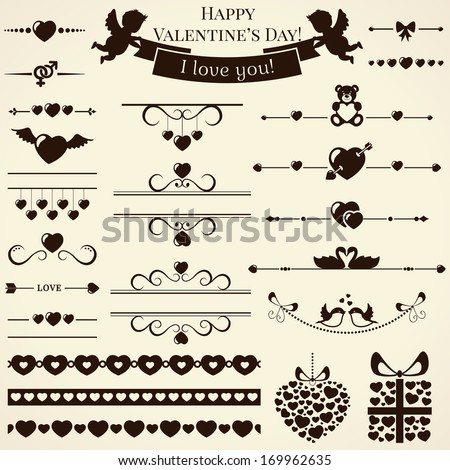 Collection of various love and romantic elements for design and page decoration. Vector illustration.