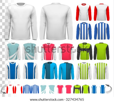 Collection of various male long sleeved shirts. Design template. The shirt is transparent and can be used as a template with your own design. Vector.  - stock vector