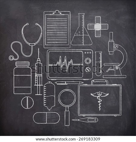 Collection of various medical elements on black background. - stock vector