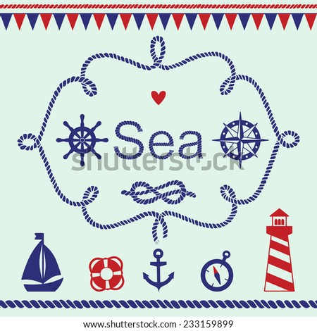 Collection of various nautical elements for design and page decoration. Vector illustration. - stock vector