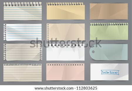 Collection of various note papers, ( Folded paper, Crumpled paper )  Vector illustration.Vector illustration