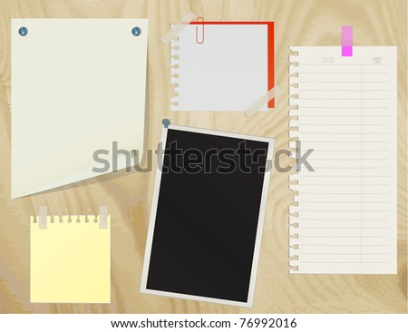 Collection of various note papers on an old wooden board. vector - stock vector