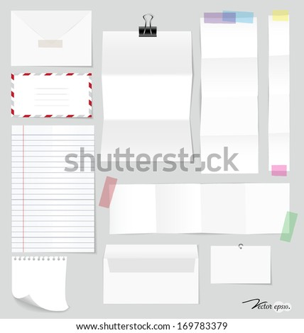Collection of various note papers, ready for your message. Vector illustration. - stock vector