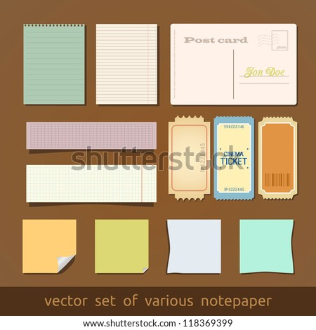 Collection of various notes paper and post card. - stock vector