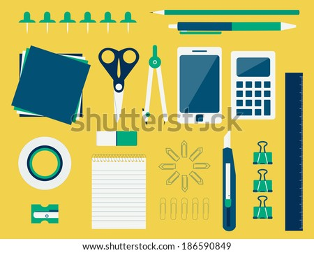 Collection of various office supplies like scissors, pencil, pen, compass, stiletto, calculator, mobile, ruler, masking tape, paper clips, pencil sharpener, copybook, papers and pins. Office supplies. - stock vector
