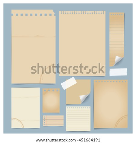 Collection of various old papers (paper sheets, note paper, price tag), ready for your message. Vector illustration.