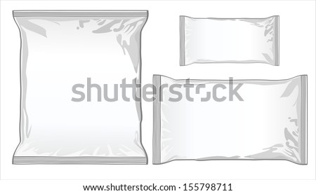 collection of various paper bags on white background. - stock vector