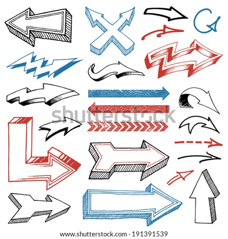 Collection of Various Pencil Drawn Vector Arrows. Every Shape in vector file is isolated on its own layer and properly labeled. - stock vector