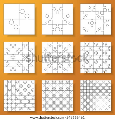 collection of various sizes(2*2-10*10) jigsaw puzzle. Vector illustration - stock vector