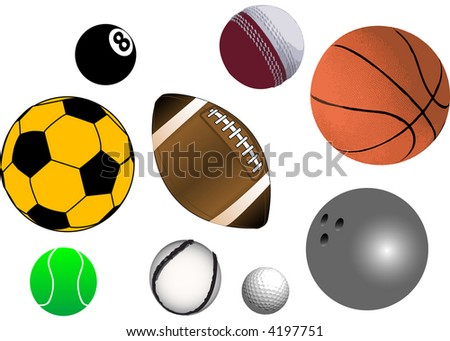 Collection of various sports ball in vector format (fully resizable and editable) - stock vector