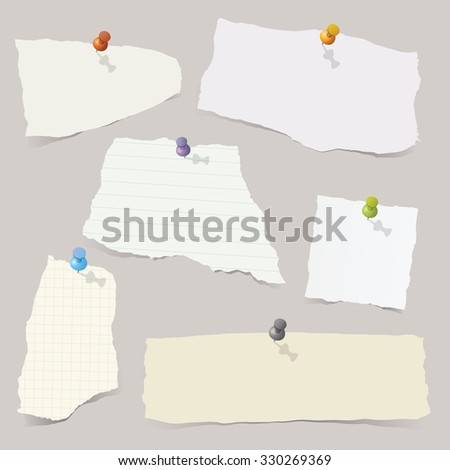 Collection of various vector note papers with different shape. - stock vector