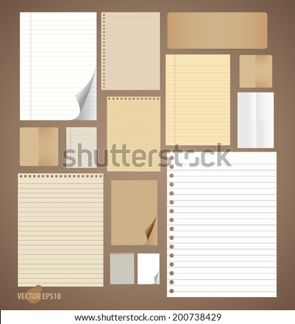 Collection of various vintage paper designs (paper sheets, lined paper and note paper). Vector illustration. - stock vector