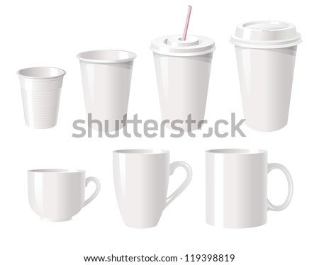 Collection of various white coffee cups isolated on white background, vector illustration - stock vector