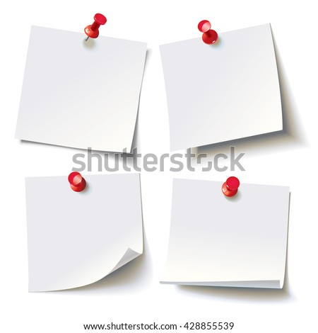 Collection of various white note papers with curled corner, pinned red pushbutton, ready for your message. Vector illustration. Isolated on white background. Front view. Top view. Close up. - stock vector
