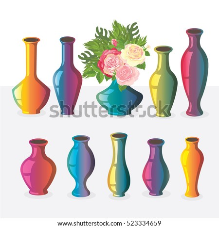 A Set of Vases with Four Old Bottles
