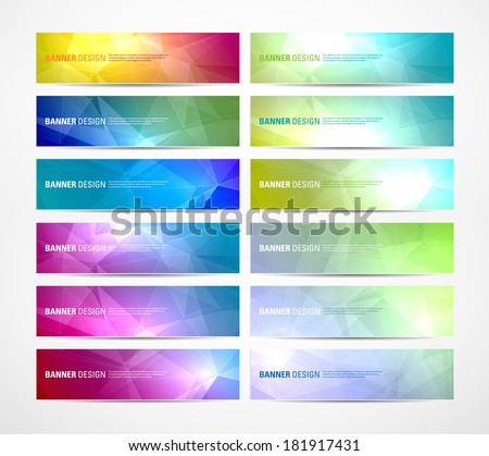 Collection of vector abstract polygonal banners - stock vector