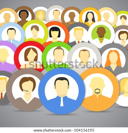 Collection of vector account icons of men and women. Different nationalities - stock vector