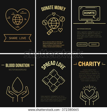 Collection of vector banner templates with charity objects. Poster for non-profit organizaiton, fundraising event, volunteer centre. Vector line style illustration. - stock vector