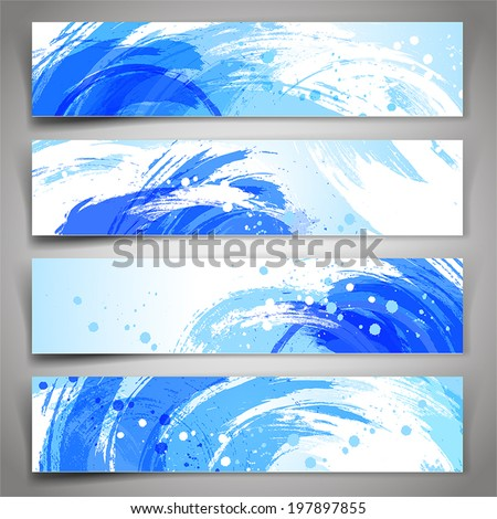 Collection of vector banners with blue and white brush strokes and paint splashes. Abstract vector background.
