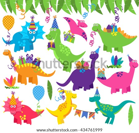 Collection of Vector Birthday Party or Party Dinosaurs and Decorations - stock vector