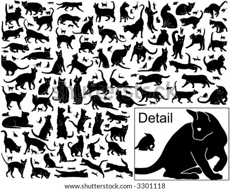 Collection of vector black cats in various positions with basic outlines included - stock vector