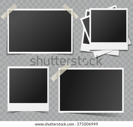 Collection of vector blank retro photo frames with transparent shadow effects