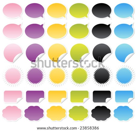 Collection of vector brightly colored web elements. Perfect for adding your own text or icons. Blends used to create drop shadow effect. - stock vector