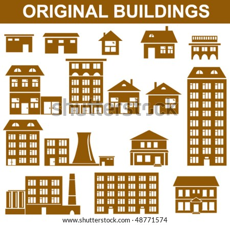 Collection of vector building silhouettes with windows - stock vector
