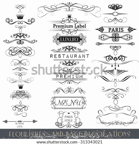 Collection of vector calligraphic element and page decorations - stock vector