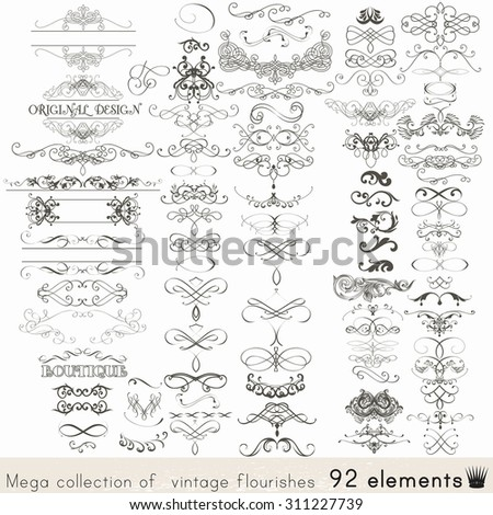Collection of vector calligraphic elements and page decorations - stock vector