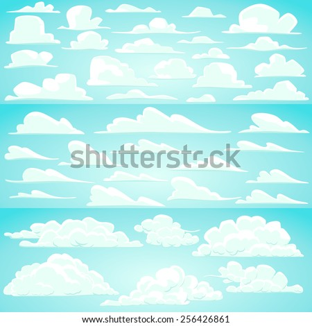 Collection of vector cartoon clouds in different shapes - stock vector