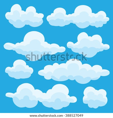 Collection of vector cartoon clouds in different shapes on blue background