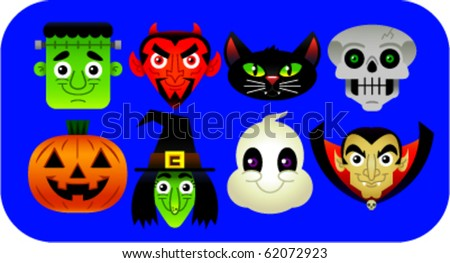 Collection of vector cartoons of various Halloween characters: Frankenstein, Devil, Black Cat, Skeleton, Jack O'Lantern, Witch, Ghost, Dracula. - stock vector