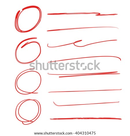 collection of vector circles underlines brush strokes, highlighter circles