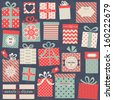 Collection of vector colorful Christmas present boxes. Holiday seamless pattern. - stock vector