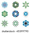 Collection of 9 vector design elements and graphics in green, grey and blue color - stock vector