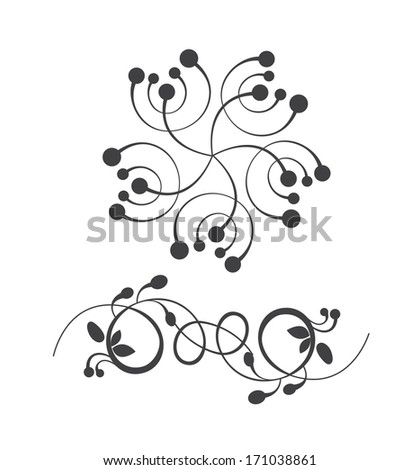 Collection of vector design elements. Classic vintage floral ornaments for cards,   banners and retro designs  - stock vector