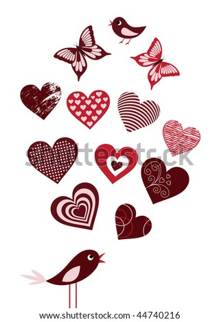 Collection of vector elements for your romantic design, Valentine card - stock vector