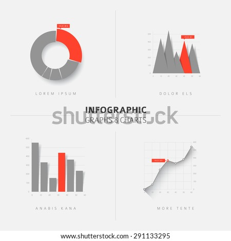 Collection of vector flat design infographics statistics charts and graphs - gray and red version - stock vector